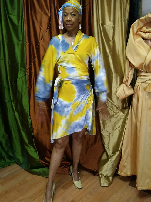 Tye Dye Short Wrap Dress - High / Low, Long Sleeves