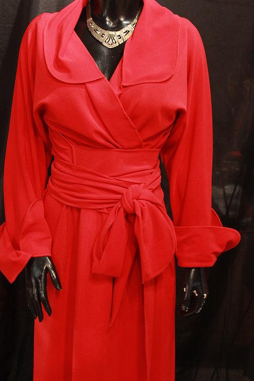 Red Wrap Coat Dress
