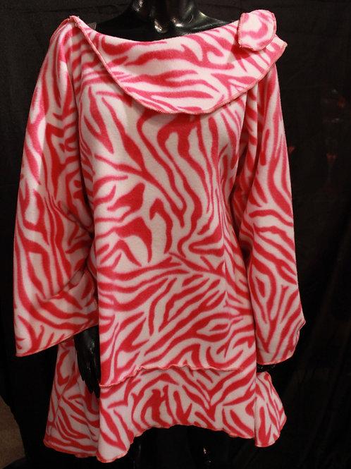 Fleece Cowl Dress Zebra Print