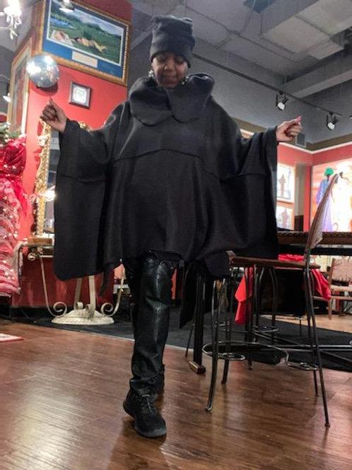 Black Fleece Poncho Hat Set