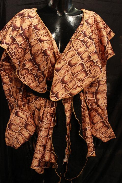 Crocodile Print Wrap Jacket