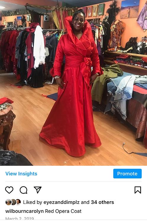 Long Red Dupioni Silk Dress