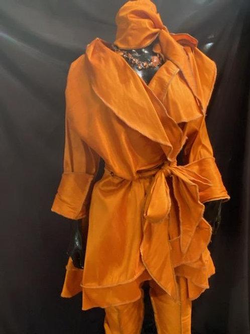 2 Piece Dupioni Silk Wrap Jacket and Straight Legged Pants