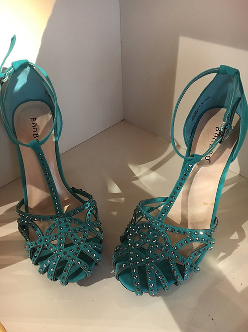 Turquoise Suede Studded  Heels Size 6.5