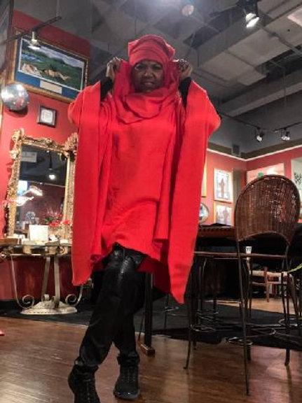Red Fleece Poncho Hat Set