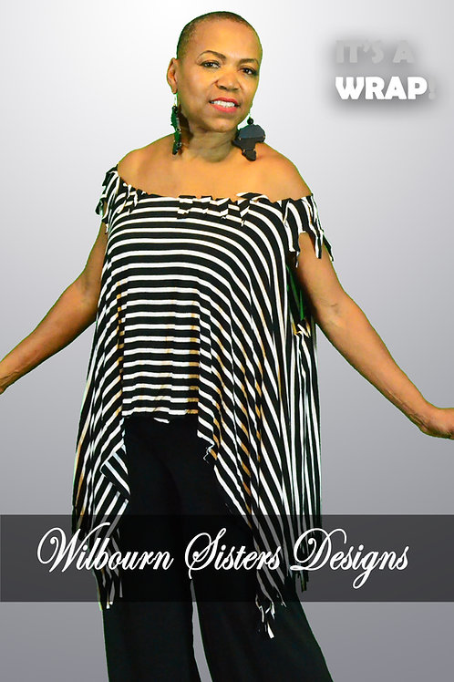 Black and White Stripe Flowing Top with Scarf