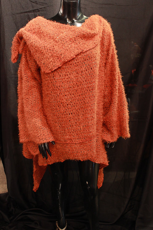 Orange Cowl Crochet Sweater