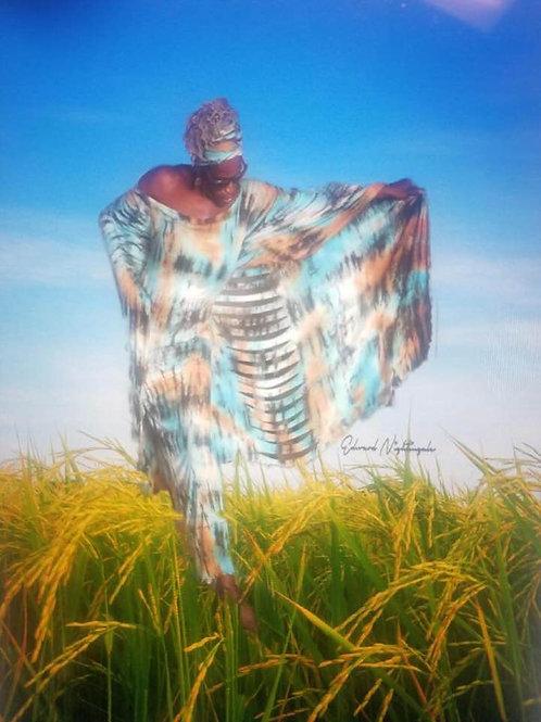 Long Mahogany Tye Dye Dress