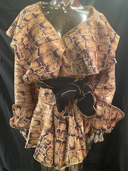 Wrap Jacket with Flounce Collar and Flounce Skirted Tail
