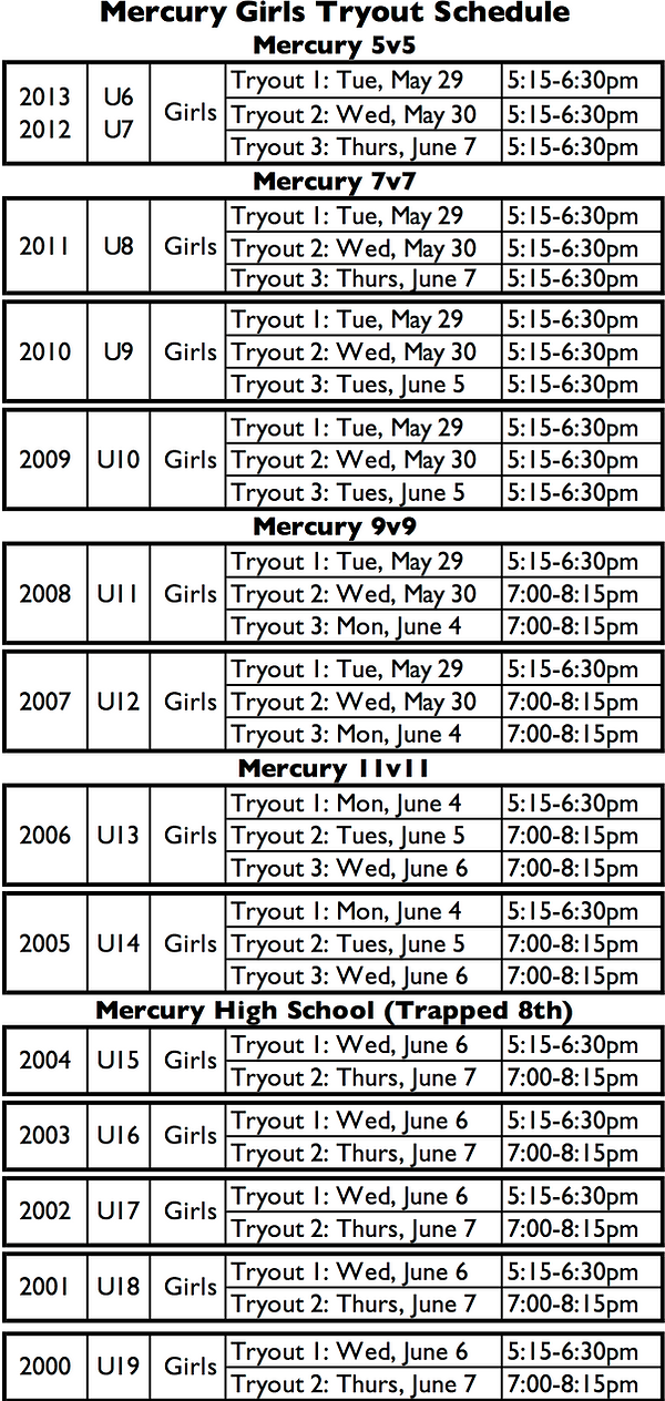 Mercury Tryout Schedule