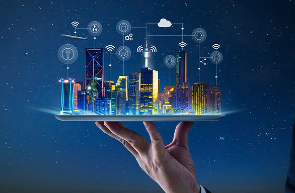 Waiter hand holding an empty digital tablet with Smart city with smart services and icons,
