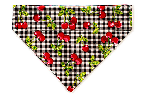 Bella - Cherries on Black & White Checkered