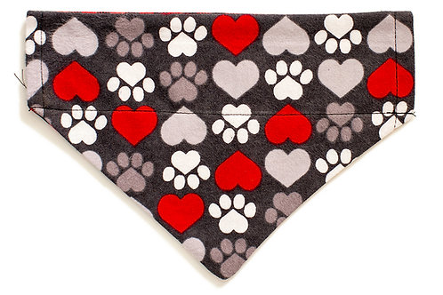 Brewster - Large Paws & Hearts on Dark Grey