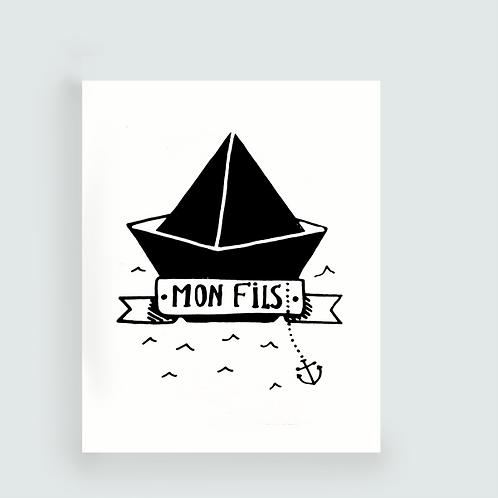 . Carte MON FILS . Noir