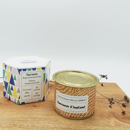 Bougie Lait d'avoine et miel  150g . cire de soja