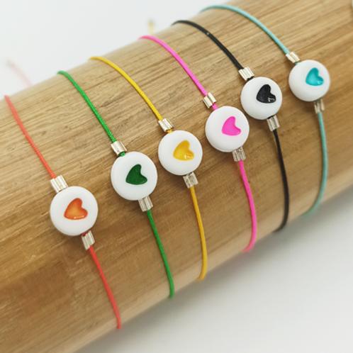 Bracelet Fil de jade . coeur