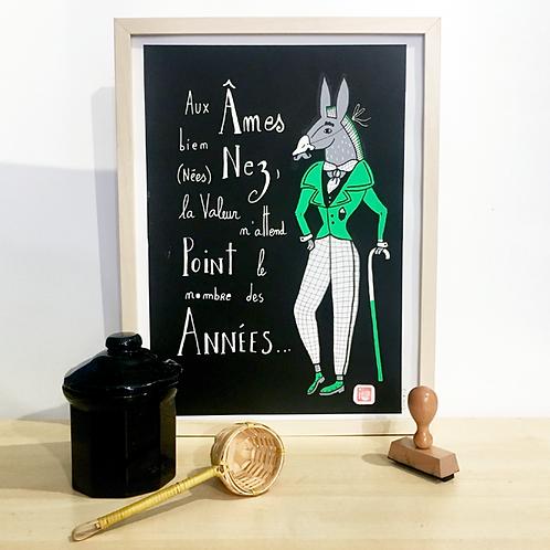 Les Années et âne vert . 30 X 40 cm