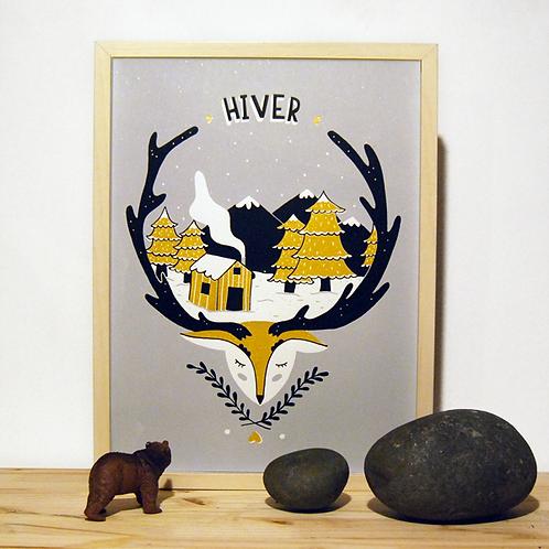 Cerf Hiver. Gris,or . 30 X 40 cm