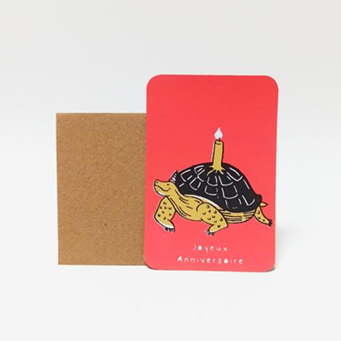 Tortue d'anniv .  Mini carte