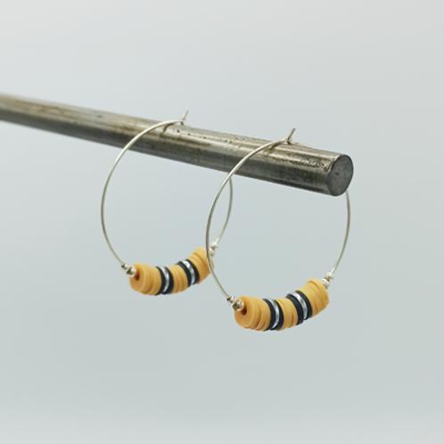 boucles d'oreilles argent .Créole Heishi