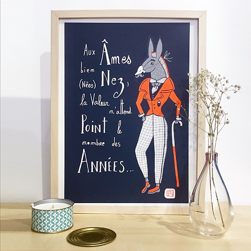 Les Années et âne orange . 30 X 40 cm