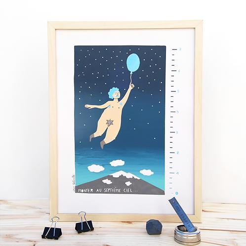 Monter au 7eme ciel . Bleu Pailettes .  30 X 40 cm