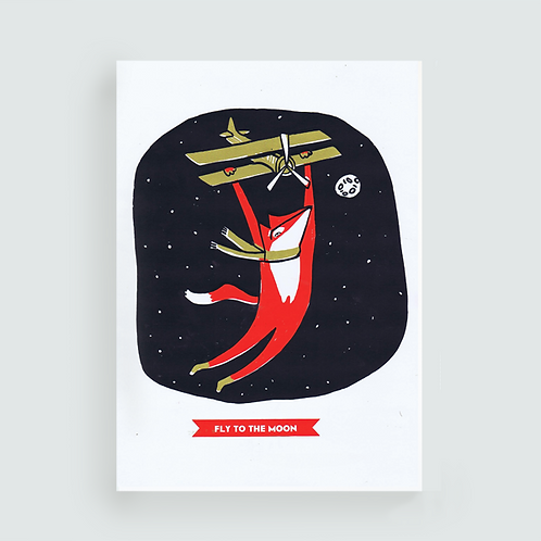 Fly to the moon . Sérigraphie A3