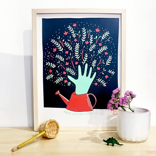 Copie de La main Verte Rouge . 30 X 40 cm