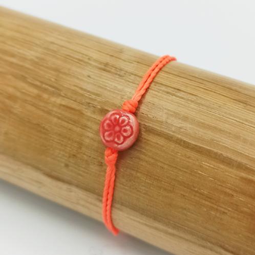 Bracelet . Fleur céramique