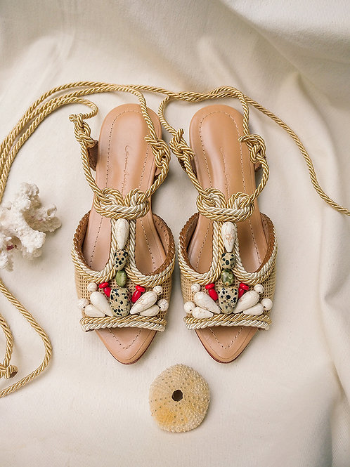Dora Flat/ Nude+Off White/ Nude/ natural stones