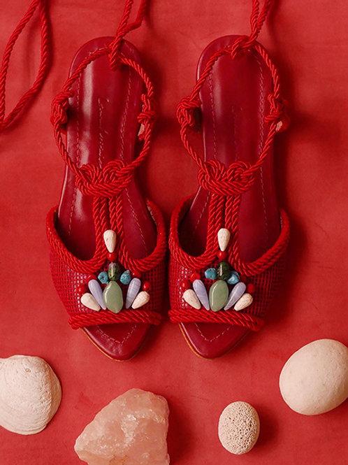 Dora Flat/ Vermelho/ Vermelha/ pedras coloridas