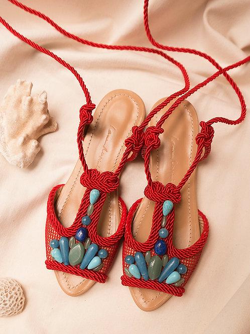 Dora Flat/ Red/ Nude/ turquoise stones