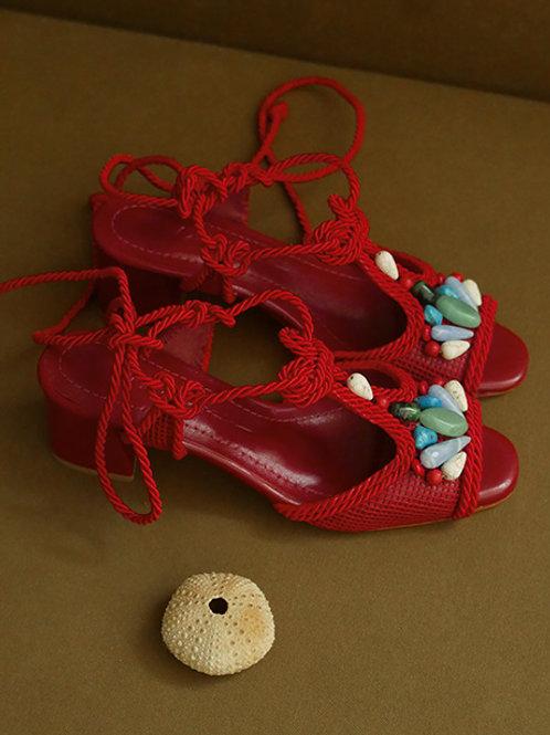 Dora Block Heel/ Red/ Red/ coloured stones