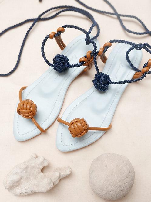 Francisca Flat/ Mustard/ Light Blue/ navy blue knot