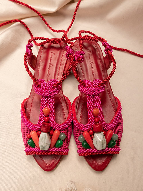 Dora Flat/ Pink+Red/ Red/ coloured stones