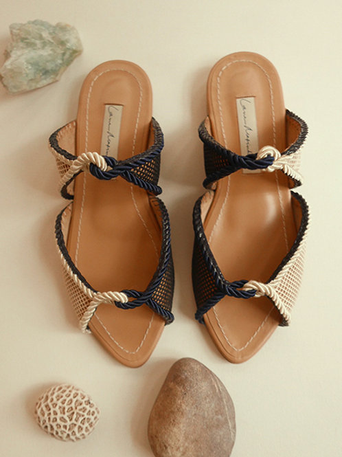 Carolina Flat/ Navy Blue+Off White/ Nude/