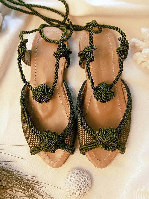 Tereza Flat/ Moss Green/ Nude/ green knot