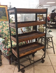 antique industrial shoe rack