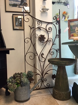 decorative antique iron gate, arts and crafts bird bath, vintage water bucket