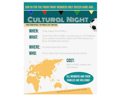 Cultural Night at the FWSC this Friday Aug 23