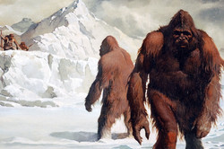 """Yeti illustration in """"monsters and mythic beasts (1975)"""