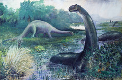 A (now inaccurate) painting of swamp-dwelling sauropods by Charles R. Knight