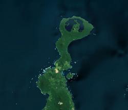 The Willaumez Peninsula with Lake Dakataua at the top