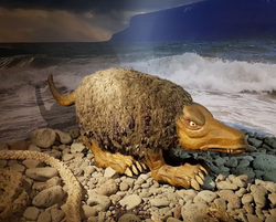 A Fjörulalli statue at the Icelandic Sea Serpent Museum
