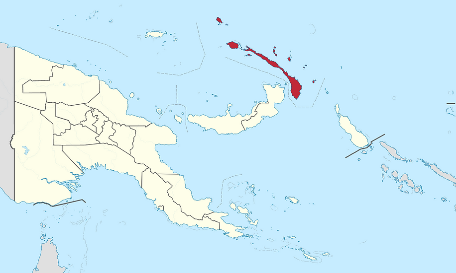 A map of Papua New Guinea showing the Ne