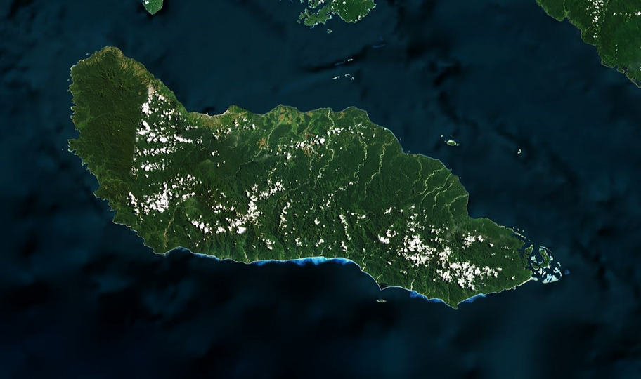 A satellite image of Guadalcanal, the is