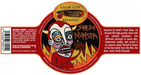 Cigar City Brewing beer label Sardo Numpspa demon devils foodcake hazelnuts