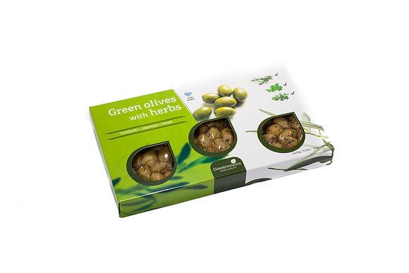 Κουτί πράσινες ελιές με βότανα 3x100g