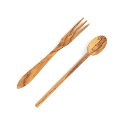 Olive wood fork & spoon set of 2 (Size S)
