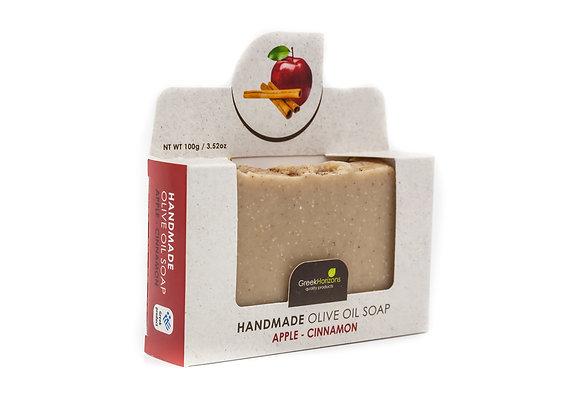 Χειροποίητο σαπούνι ελαιολάδου Μήλο & κανέλα 100γρ